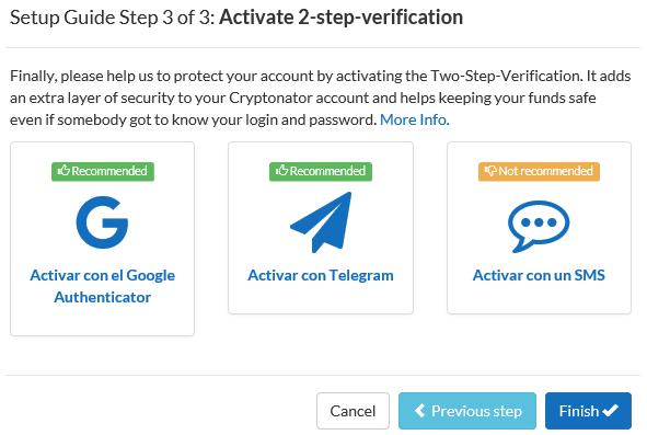 activación 2 pasos cryptonator