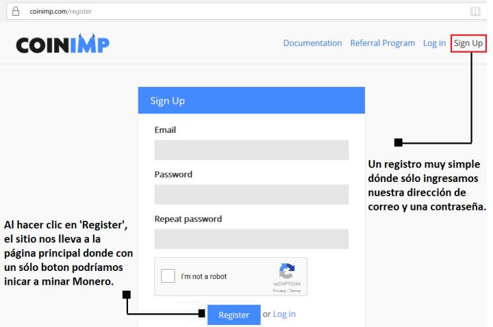 Registro en CoinImp